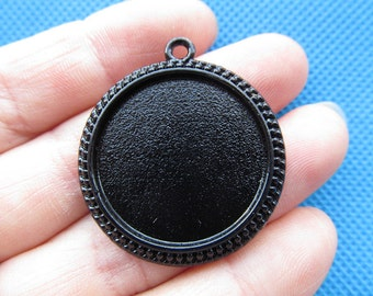 Black Round Base Setting Bezel Tray Bezel Pendant Charm/Finding,Caved Border,fit 30mm Round Cabochon/Cameo