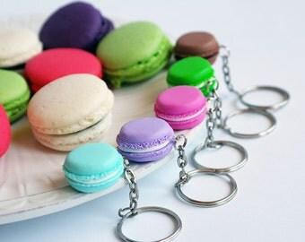 French macaron keychain, miniature macaron, macaron jewelry, Miniature food, polymer clay macaron velwoo