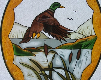 Suncatcher - Hand-painted on glass-  Mallard