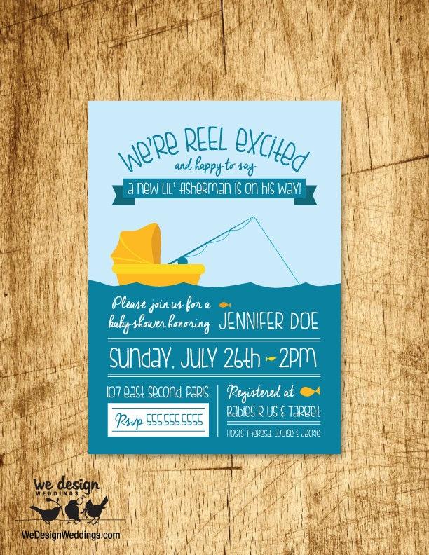 Fishing baby shower invitation custom invitation for Fishing baby shower invitations