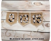 Baseball Save the Date, burlap flags, baseball print numbers hung on twine, baseball themed save the date, Product ID# 2014-020