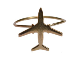 AIRPLANE ring in brass