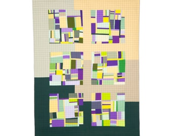 "Art Quilt, Quilt Art, Wallhanging. Motif #13. 52""H x 37""W. Pieced and quilted in 100% cotton, hanging sleeve."