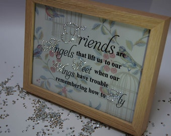Friends Are Angels V2,Sparkle Word Art Pictures, Quotes, Sayings, Home Décor