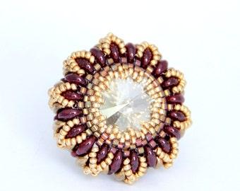 Swarovski Crystal Ring / Super Duo Rings / Swarovski Beads Ring / Bead Jewelry / Colorful Ring