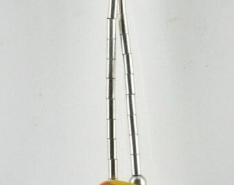 Vintage Sterling Silver Tubes, Orange, Etched   Necklace 4.8g U5724