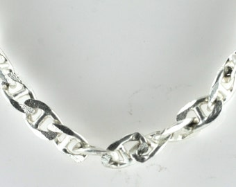 Vintage Sterling Silver Oval, Unique Anchor  Necklace 30.4g U5964