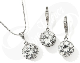 Bridesmaid Jewlery Set Bridal Cubic Zirconia Earrings and Necklace Set Bridal Jewelry CZ Necklace Bridal Set Bridesmaid Gift Wedding Jewelry