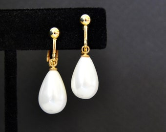White Pearl Wedding Earrings Pearl Drop Earrings, Pierced or Clip, Teardrop Pearl Earrings