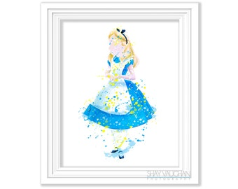 Alice In Wonderland Art Print Painting Alice In Wonderland Nursery Decor Children's Room Art Wall Art Gift Illustration Poster (No.343)