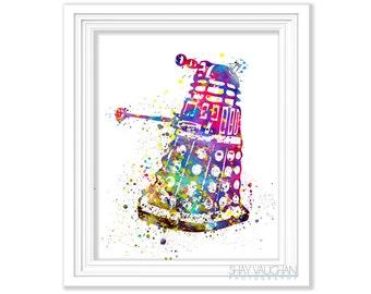 Dalek Art Print Doctor Who Art Doctor Who Dalek Watercolor Dalek Poster Watercolor Painting Wall Art Home Decor Doctor Who Fan Gift (No.357)