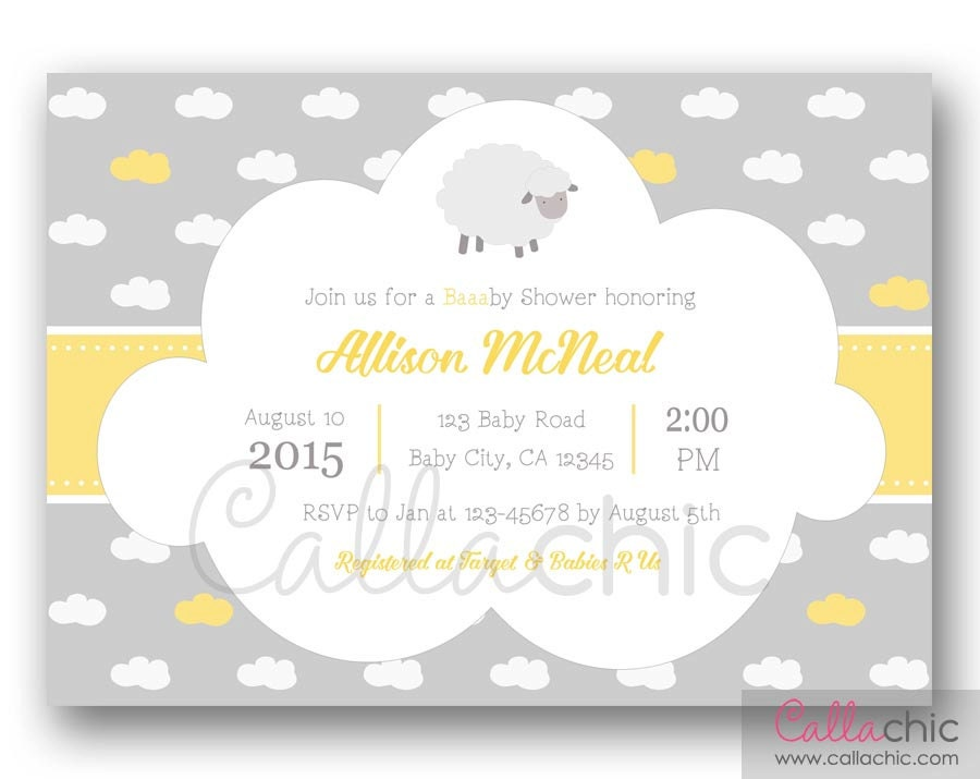 sheep baby shower invitation printable boy/girl st, Baby shower invitation