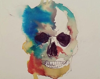 Skull Watercolour Painting Artwork