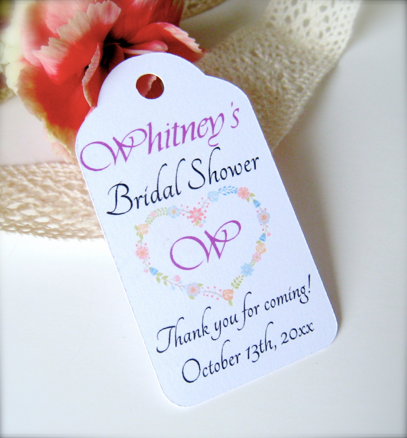 Bridal shower favor tags custom thank you tags bridal shower for Shower favor tag