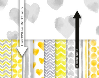 Yellow and grey watercolor digital paper pack instant download lemon & gray baby girl love valentine day heart hand painted candy background