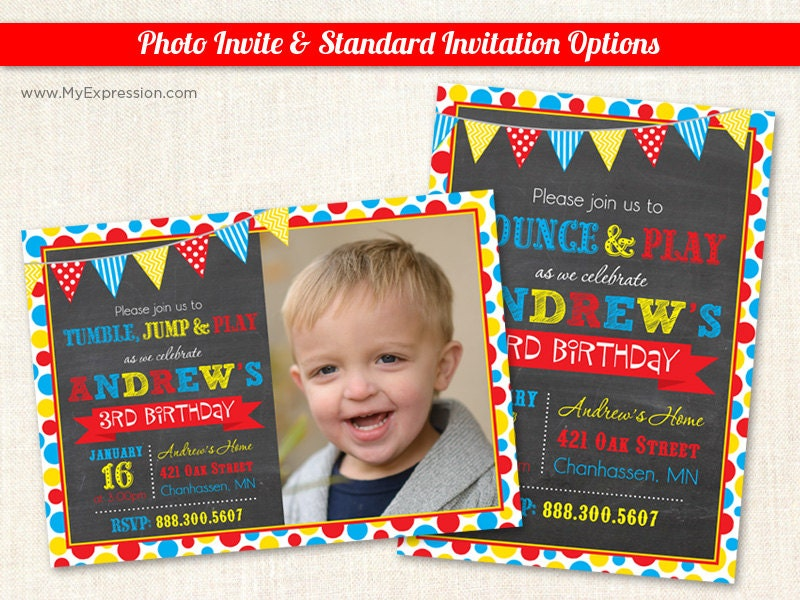 Bright Dots Photo Birthday Invitations Pump it Up Birthday – Pump It Up Party Invitations