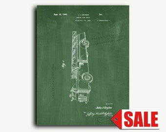 Patent Art Print - Grybos Aerial Fire Truck Patent Wall Art Print Poster
