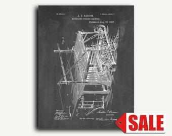 Patent Print - Newspaper Folding Machine Patent Wall Art Poster
