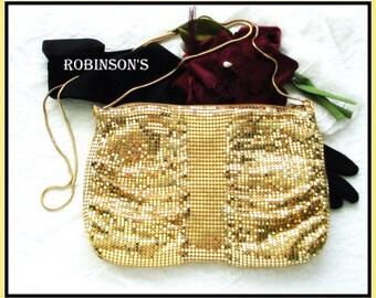 ROBINSON'S MESH PURSE Gold Tone Glam