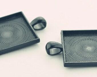 Wholesale 20pcs Large Black Pendant Trays - 25mm 1inch Square Pendant Blanks - Bezel Cabochon Settings - Pendant Tray Blanks
