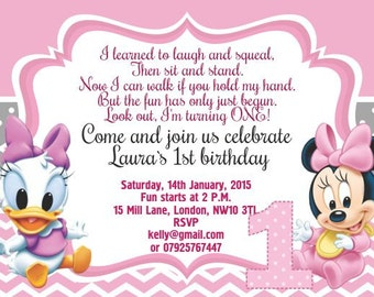 10 x Personalised Invitations or Thank you Cards Baby Minnie Mickey Mouse
