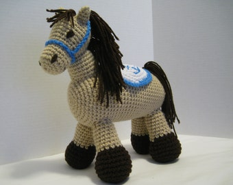Stuffed Horse, Crocheted, with halter and saddle