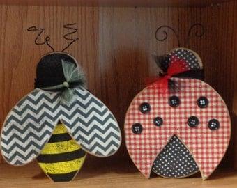 Summer Decor, Bugs, Ladybug and Bee, set of 2