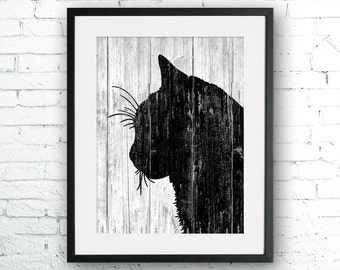 Cat art illustration print, Cat painting, Wall art, Rustic Wood art, Wood print, Animal print, Home Decor, Animal silhouette, art print