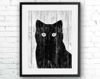 Cat 2 art illustration print, Cat painting, Wall art, Rustic Wood art, Wood print, Animal print, Home Decor, Animal silhouette, art print