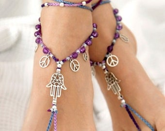 Barefoot Sandals. Hamsa Barefoot Sandals. Lilac Gypsy Shoes