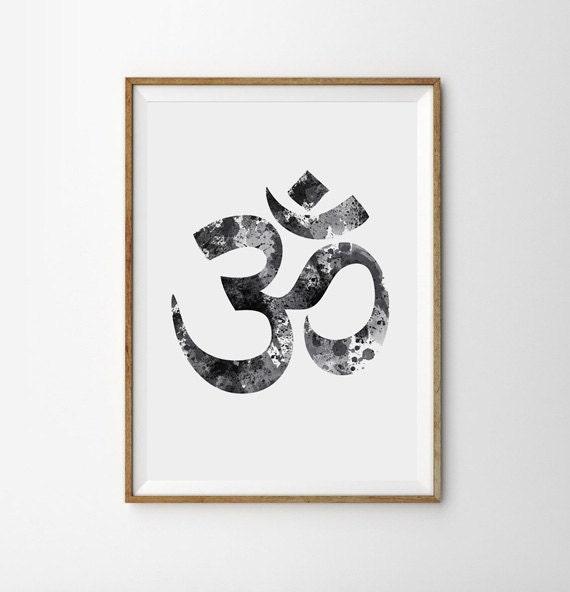 Yoga Studio Wall Decor : Om yoga wall decor watercolor poster