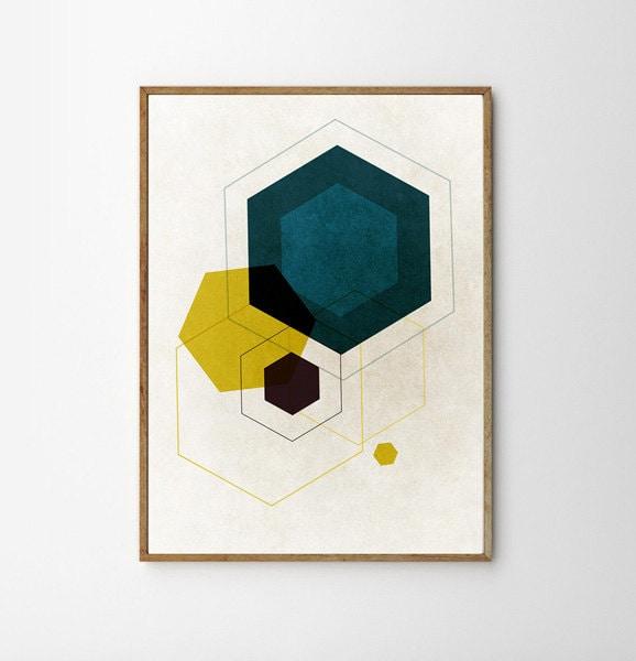 Mid century art living room art retro geometric art for 1950s minimalist house