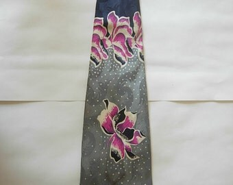Stunning 1940s Satin Rayon Bold Swing Tie