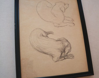 Framed pen and ink line drawing of dogs, original artwork