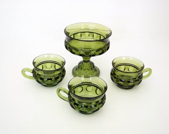 Indiana King Crown Thumbprint Green Glass Candy Dish and Three Cups