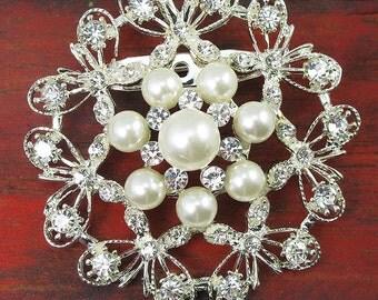 1x Crystal Rhinestone Brooch Pearl Brooch Wedding Brooch Wedding Favors GIft Wedding Bouquet Brooch Wedding Invitation Brooch Embellishment