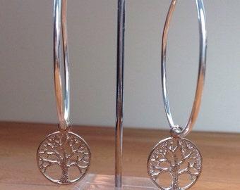 Tree of life silver hoop earrings