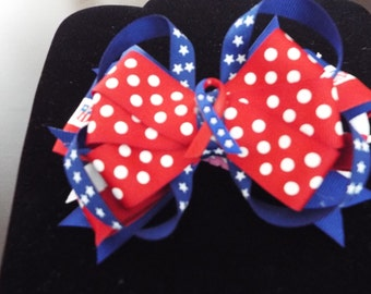 Patriotic Stacked Hair Bow