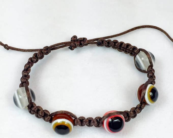 Evil Eye Bracelet |Macrame Bracelet | Brown Macrame Bracelet | Beaded Bracelet | Woven Bracelet | Protection Bracelet | Evil eye jewelry