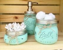 3 Piece Hand Painted Mason Jar Bathroom Set, Mason Jars, Housewarming Gift, Bridal Shower Gift, Wedding Gift, Mason Jar Soap Dispenser,