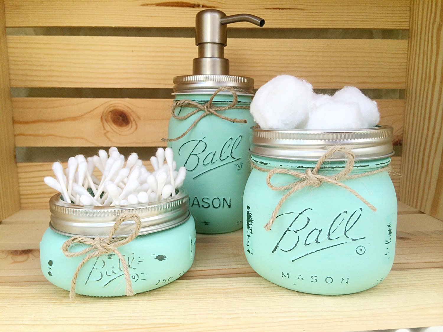3 piece mason jar bathroom set rustic by midnightowlcandleco for Bathroom decor mason jars