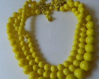 Yellow beads Necklace with Earrings  SALE for 52 dollars