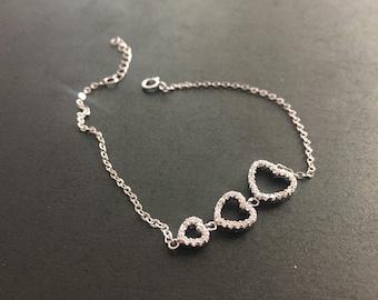 Sterling 3 Heart Reversible Bracelet