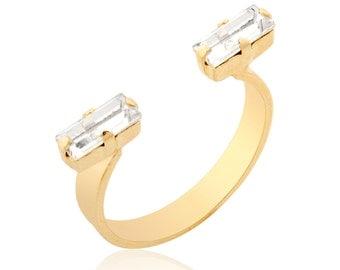 Open Gold Ring , Dainty ring, Swarovski Ring, adjustable ring, Rectangle Shape Ring