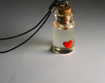 Heart in a bottle cellphone charm