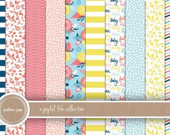 Floral Bright Digital Papers - Scrapbooking, Backgrounds