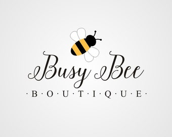 Premade Logo, Boutique Logo Design, Typography Logo, Custom Business Logo, Bumble Bee Logo