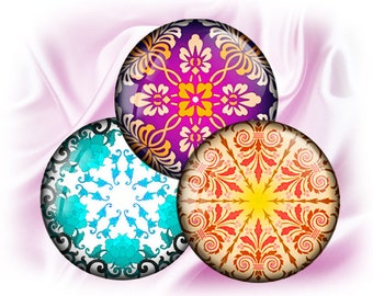 "Mandala 4 - bottle cap - 1 inch circles 25mm, 30mm, 1.25"", 1.5"" rounds Digital Collage, Instant Download, BUY 2 GET 1 FREE"
