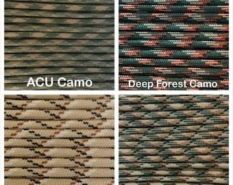 Paracord 550 Mil Spec Type III 7 strand Camo Patterns Bracelet Necklace Survivor Parachute Cord 1-1000' lengths