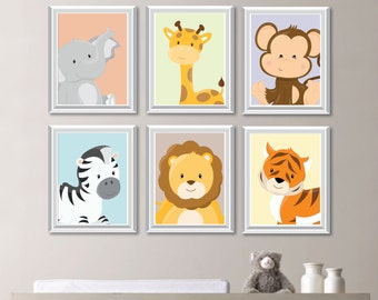 Baby Nursery Print Art - Animal Nursery Decor - Jungle Nursery - Jungle Nursery Art -Safari Nursery - Safari Nursery Art - Bedroom (NS-732)